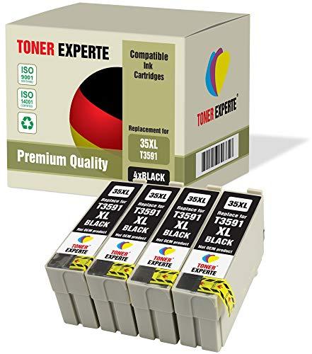 4 XL TONER EXPERTE 35 35XL Cartucce d'inchiostro compatibili per Epson WorkForce Pro WF-4720DWF, WF-4725DWF, WF-4730DTWF, WF-4740DTWF (4 Nero)