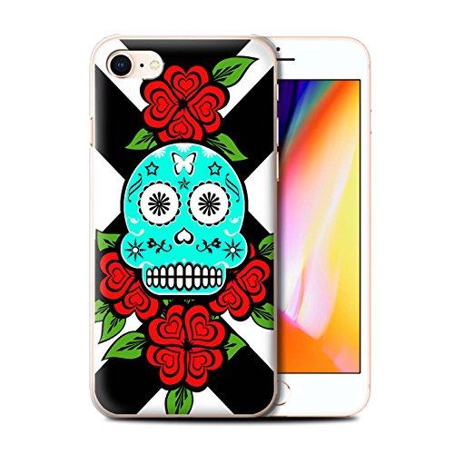Stuff4 Hülle / Case für Apple iPhone 8 / Türkis Muster / Süßigkeiten Schädel Kollektion Türkis/Rose