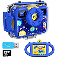 Ourlife Kids Camera, Selfie Kids Waterproof Digital Cameras for Kids 1080P 8MP 2.4 Inch Large Screen with 8GB SD Card, Silicone Handle and Fill Light,2019 Upgraded (Dark-Blue)