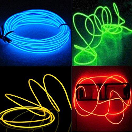 EL Wire, 4er-pack El Kabel- EFK Leuchtkabel Neon Wire Leuchtende Strobing Elektrolumineszenz-El-Draht (Blau, Grün, Rot, Gelb ) mit 3 Modi ()