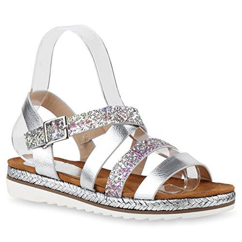 Damen Komfort-Sandalen Metallic Sandale Bequemschuh Profilsohle Silber Bunt