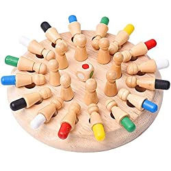 Yosoo 24 Piezas de Ajedrez de Memoria Montessori para Niños Juguete de Madera para Bebé Educativo Aprendizaje Desarrollo de Memoria Niñas para Educación Memory Chees