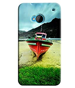Blue Throat Boat On Grass Hard Plastic Printed Back Cover/Case For HTC One M7