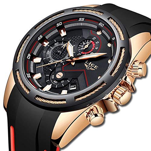 LIGE Herren Uhren Sport Militär Wasserdicht Chronograph Armbanduhr Männer Silikon Schwarz Herrenuhren Datum Kalender Modisch Analog Quarzuhr