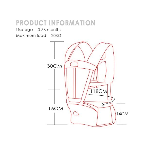 SONARIN Multifunctional Breathable Hipseat Baby Carrier,Front and Back,Breathable mesh Backing,Ergonomic,One Size Fits All,6 Carrying Positions,100% Infinity Guarantee,Ideal Gift(Brown) SONARIN Applicable age and Weight:0-36 months of baby, the maximum load: 20KG, and adjustable the waist size can be up to 44.9 inches (about 114cm). Material:designers choose comfortable and cool 100% cotton fabric. External use of 3D breathable mesh material, all-round breathable design, 15mm soft cushion, to the baby comfortable and safe experience. Side with small pockets so that you can put some daily necessities when you go outside. Description: EPP seat core, no deformation, baby sitting more comfortable.patented design of the auxiliary spine micro-C structure and leg opening design, natural M-type sitting. Widen the shoulder strap and belt will be effective to disperse the baby's weight to the shoulder and waist, so that mother more effort. 4