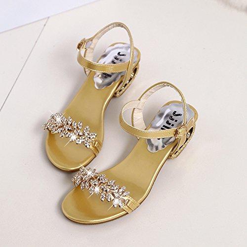 XY&GKDamen Sommer Sandalen grob Heel Strass Schuhe weichen Sohlen 36 gold