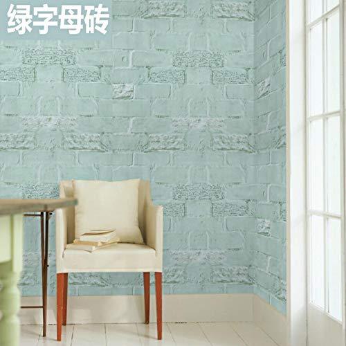 Carta da parati autoadesiva carta da parati adesivi murali camera da letto grigi impermeabili verde fluorescente e verde lettera mattone