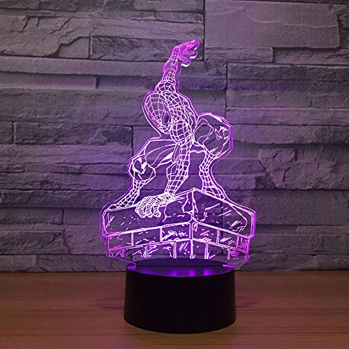 3D Illusion Lampe Nachtlicht optische Täuschung lampen,Spider Man Modellisierenden Schreibtischlampe Tischlampe 7 Farben mit Acryl Platte & ABS Base für Schlafzimmer Kinder Weihnachts