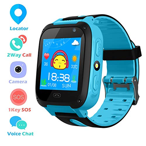 Kids Smart Phone Watch per 3-12 anni Boys Girls GPS/LBS Tracker Touch Screen SOS gioco telecamera anti-perso digitale da polso Sim bambini festa regalo di compleanno (Blue)