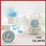 Ingrosso e Risparmio 12 Calamite tonde in Vetro con Orsacchiotto Azzurro per bomboniere Idee Nascita Bambino Maschio (con Confezione Rosa)