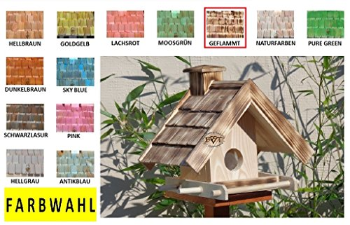 Vogelhaus BTV-VOWA3-dbraun002 Großes Vogelhäuschen + 5 SITZSTANGEN, KOMPLETT mit Futtersilo + SICHTGLAS für Vorrat PREMIUM Vogelhaus – ideal zur WANDBESTIGUNG – Futterhaus, Futterhäuschen WETTERFEST, QUALITÄTS-SCHREINERARBEIT-aus 100% Vollholz, Holz Futterhaus für Vögel, MIT FUTTERSCHACHT Futtervorrat, Vogelfutter-Station Farbe braun dunkelbraun schokobraun rustikal klassisch, Ausführung Naturholz MIT TIEFEM WETTERSCHUTZ-DACH für trockenes Futter - 6