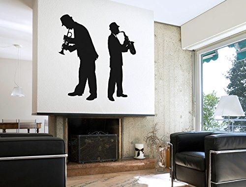 """I-love-Wandtattoo WAS-11182 Wohnraum Musik Wandsticker """"Musik Duo mit Trompete und Saxophon'' Deko Figuren zum Kleben Musik Lounge Wandtattoo Musiknoten Wandaufkleber Musikmotiv Sticker Mikrofon Aufkleber Notenlinien XXL"""