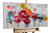 KunstLoft® Acryl Gemälde 'Finally Spring' 100x50cm | original handgemalte Leinwand Bilder XXL | Blumen Abstrakt Bunt Grau | Wandbild Acrylbild moderne Kunst einteilig mit Rahmen