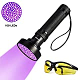 YOUTHINK Torcia UV, Lampada Ultravioletta 395nm con Occhiali da Sole UV per Animali Cane Gatto Urina, Scorpioni (100 LEDs)