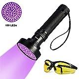 YOUTHINK Torcia UV, Lampada Ultravioletta 395nm con Occhiali da Sole UV per Animali Cane Gatto Urina, Scorpioni (100 LEDs)