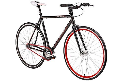 "Fixie 28 Zoll Singlespeed Retro Fahrrad in schwarz / rot 28"" Fitnessbike Fixed Gear Rennrad Bike Flip Flop Nabe 56 cm Rahmenhöhe Damen Herren (schwarz / rot, 56)"