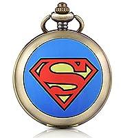 Infinite U Superman Batman Shaped Skeleton Mechanical Pocket Watch Photo Locket Pendant Hand Wind Roman Numerals White Dial Fob/Long Chain Sweater Necklace