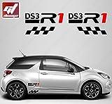 Kit zweifarbig Aufkleber DS3R1GTD–Schwarz/Rot–Sticker, selbstklebend, Citroen, Deco, Tuning