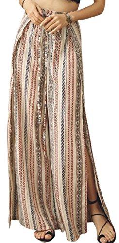 erdbeerloft - Damen Lange Weite Hose mit Boho Muster, Mehrfarbig, Größe L