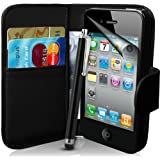 Supergets Case for Apple iPhone 4s and 4 Book-Style Bag in Leather-Look with Stylus and Screen Protector