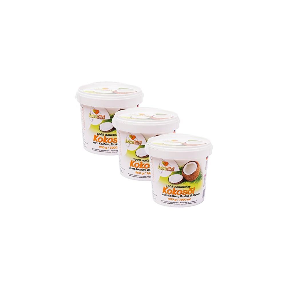 Lovediet Coconut Oil Kokosfett Kokosl 3erpack3x1000ml Neutraler Geruch Und Geschmackgratis Carob Pulver 250g Paleo Vegan Produkte