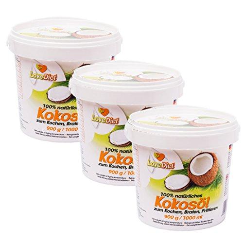 LoveDiet Coconut Oil, Kokosfett, Kokosöl 3erPack(3x1000ml)-neutraler Geruch und Geschmack+Gratis Carob Pulver 250g Paleo-Vegan produkte -
