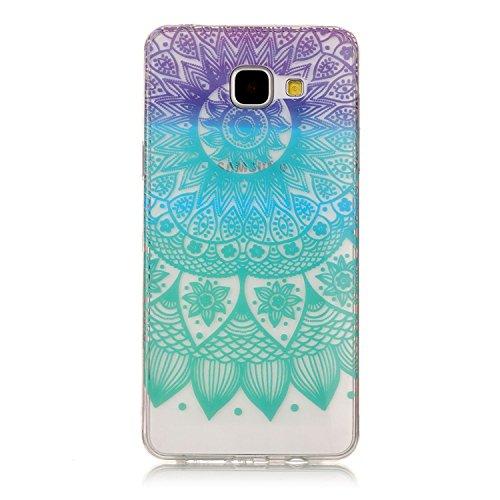 Coque Samsung Galaxy A5 2017 TPU Silicone Case,Vandot 3in1 Samsung A5 2017 TPU Clair transparent Etui avec Cristal Bling Coque Sparkle Rhinestone Briller Diamont Strass Housse Extrêmement Mince Légère C-Mandala Coloré