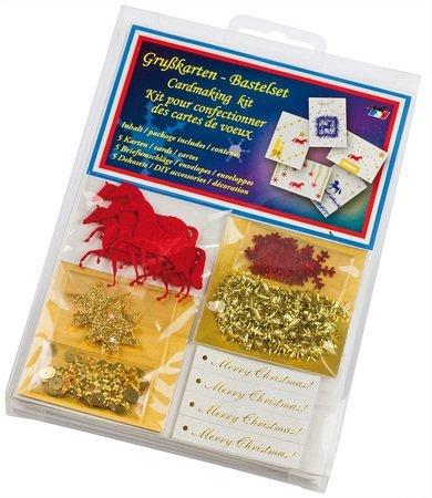 AKTION Grußkarten Weihnachtskarten Bastelset zum selbermachen von Karten 5 Stück, Farbe:rot - Grußkarten Kuh