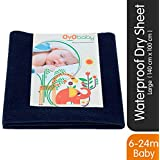 OYO BABY - Quickly Dry Sheet/Water Proof Bed Protector/Crib Sheets (140cm X 100cm, Large) - Navy Blue