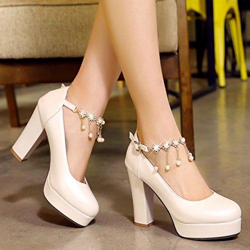 AIYOUMEI Damen Geschlossen Plateau knöchelriemchen Pumps mit Perlen und 10cm Absatz Elegant Modern hochzeit Schuhe Weiß