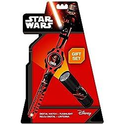 Kids Euroswan - Star Wars Episode VII SWE7054 Gift Set Clock + Flashlight - Kylo Ren model
