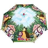 PERLETTI 75324 Masha e Orso - Ombrello manuale antivento per bambina, Struttura flessibile e resistente, 42 x 8 cm