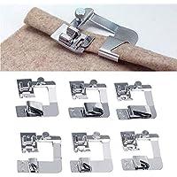 6 Tamaños de Prensatelas de Dobladillo Enrollado Pies de Prensatelas de Máquina de Costura Kit de