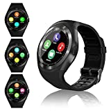 Montre Connectée Femmes Homme Enfant Smartwatch écran Tactile Rond soutien carte SIM Bracelet Connecté Podometre Sport Smart Watch pour Android iOS iPhone Samsung Huawei Xiaomi Smartphone (Noir)
