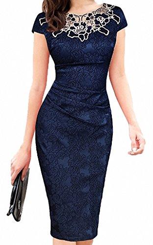 ISSHE Damen Abendkleid Elegant Kurze Hülse Festliche Kleid Spitzen Wickelkleid Strickkleid Cocktailkleid (Strickkleid Wrap Style)