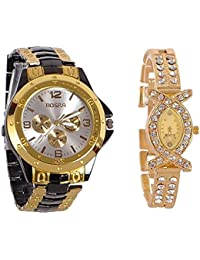 New Stainless Steel Analog Couple Watchs Analog Watch - For Couple Rosra