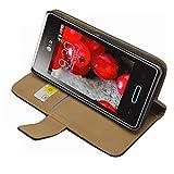 Noir Portefeuille Cuir Étui Coque pour LG E400 Optimus L3 - Flip Case Cover + 2 Films de protection d'écran