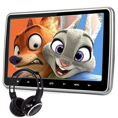 Lecteur de DVD pour appui-tête de voiture avec écran large. Design ultra mince. SD, USB, HDMI pour jouer sans fil, casque IR.