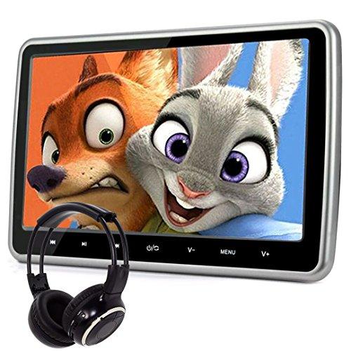 Lecteur de DVD pour appui tête de voiture avec écran large. Design ultra mince. SD, USB, HDMI pour jouer sans fil, casque IR.