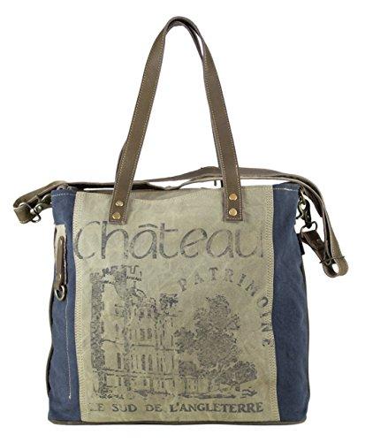 Sunsa Damen Tasche Schultertasche Shopper Handtasche Tote große Handgelenktasche Henkeltasche Damentasche Canvastasche Weekender retro Vintage Design Canvas mit Leder Umhängetasche Sporttasche