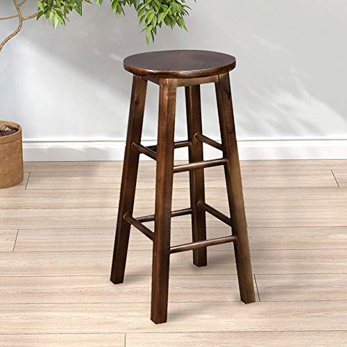 Dark Brown Counter (Barstools-BYTGK Barhocker Soild Holz Barhocker mit Fußstützen Frühstück Speisesaal Hausstühle Küchentheke J0927 (Color : Dark Brown))