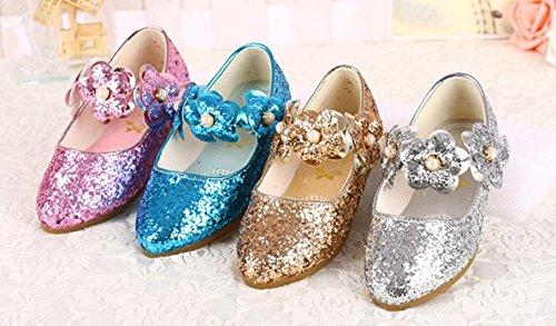 Ohmais Enfants Filles Chaussure cérémonie Ballerines à bride Fête Demoiselle d'honneur Mariage Escarpin à petit talon Bleu