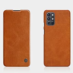 """Nillkin Case for OnePlus 9R One Plus 9R (6.55"""" Inch) Qin Genuine Classic Leather Flip Folio + Card Slot Brown Color"""