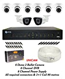 Unicam Analog CCTV Combo - 6 Dome Cameras +2 Bullet Cameras+ 1 DVR with Mouse & Remote+ 4 CHANNEL POWER SUPPLY + 90 METRES 3+1 WIRE COIL + All Required Connectors