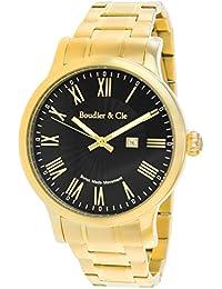Boudier & Cie BSSM211 - Reloj de Cuarzo Analogico con movimiento Suizo para hombre, Esfera negra, Carcasa dorada, Correa dorada