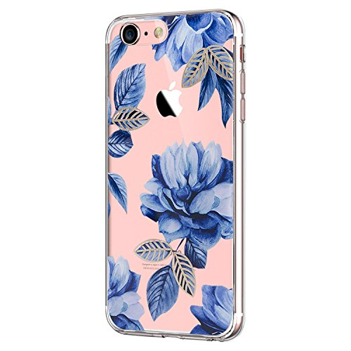 Pacyer Case kompatibel mit iPhone 7 Hülle iPhone 8 Hülle Silikon Ultra dünn Transparent Handyhülle Rückschale TPU Schutzhülle für Apple iPhone 7/8 Cover Rot Blume Mädchen Macaron (9)