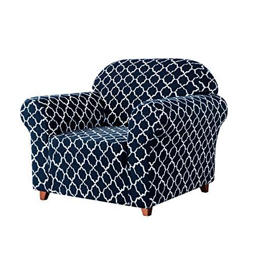 subrtex Sofabezug mit Muster Stretch Sofahusse Elastisch Sesselhusse mit Armlehne Couch überzug Weich Stoff Abwaschbar (1 Sitzer, Dunkelblau Muster)