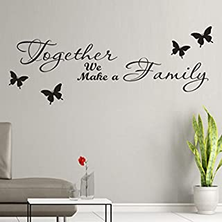 SMILEQ Lovely Quote Wall Stickers Removable Art Vinyl Mural Home Room Decor Together We Make a Family DIY Butterfly Decal (A)