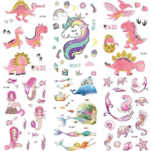 fkleber Löwe Flamingo Temporäre Tiger Tattoo Aufkleber Für Kinder Kinder Tattoo Aufkleber Elefant Meerjungfrau Dinosaurier Hirsch Fuchs Tattoo ()