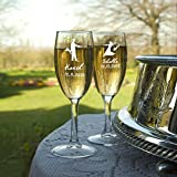 Set of 2 Customized Champagne Flutes / Glasses - Gift for Husband, Wife